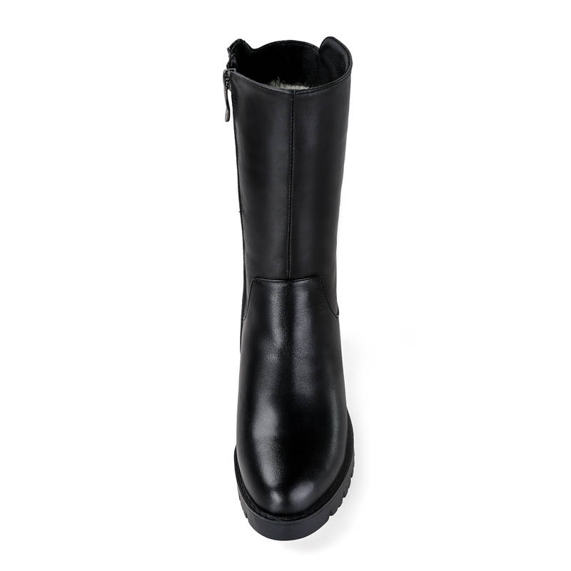 Image 4 - MORAZORA 2019 russia genuine leather natural wool boots round toe zip warm snow boots comfortable mid calf boots women shoes-in Mid-Calf Boots from Shoes