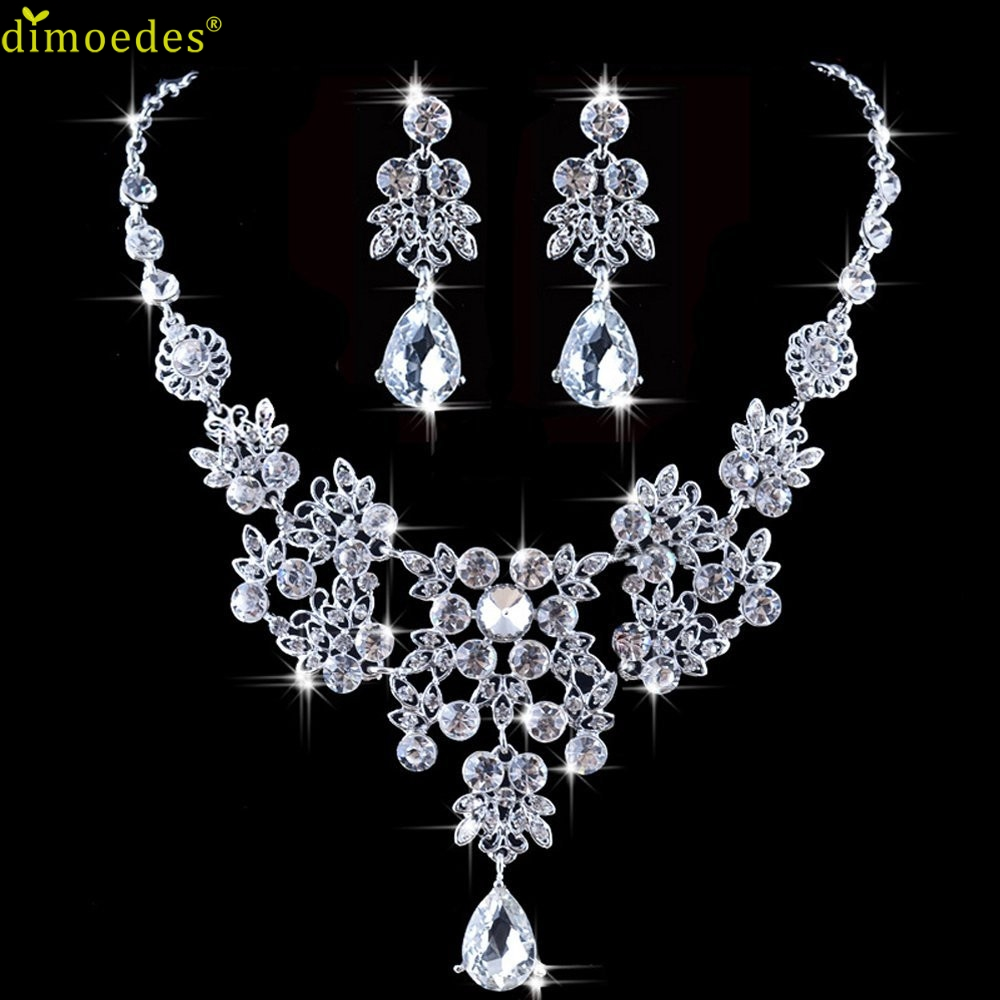 Dionmedes Gussy Life Belongs to you Wholesale Womens Wedding Jewellery Sets Fashion Bride Earrings & Pendant Necklace Feb14