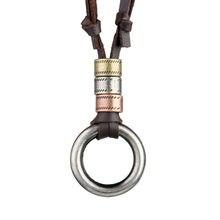 Zmzy maxi longo colar de corrente feminina vintage genuíno pulseira de couro colares & pingentes masculino gargantilha jóias