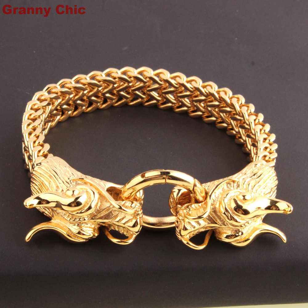 Mens Cool Gold Color Stainless Steel Heavy Two Dragon Head Curb Chain Bracelet 8 66 In Link Bracelets From Jewelry Accessories On Aliexpress