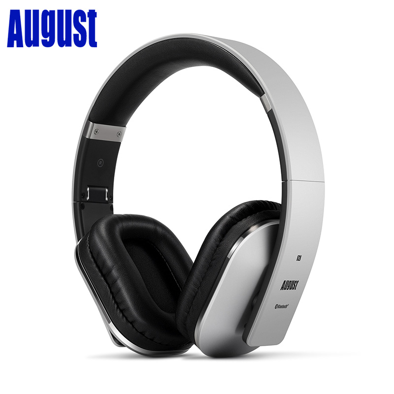 August EP650 - Bluetooth Headphones with 3.5mm Audio In - Wireless or Wired Stereo Headset with NFC Tap to Connect- Silver