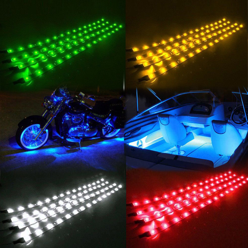 Waterproof IP67 LED Strip Lights Car Styling Decorative Atmosphere Lamps Car Neon lamp 15 LED Sign Lighting 4 PCS