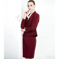 Wine Red Skirt Suit Bust skirt + suit 2 Piece Suits High Quality Formal OL Work Wear Business Elegant Bust skirt suit Uniform