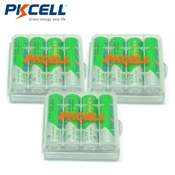 12 X PKCELL Battery AA Ni-MH 1.2V 2200mAh Low-Self Discharge AA Rechargeable Battery Batteries With 3Pcs AA /AAABattery Hold Box 4pcs palo 4000mah 1 2v c size ni mh nimh rechargeable battery with low self discharge for household flashlight water heater toy