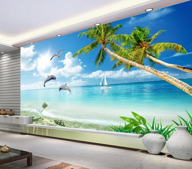 Lovely 3D Room Wallpaper Landscape Custom Hd 3d Sea Wallpaper For Bedroom  Non Woven Vinyl Wallpaper