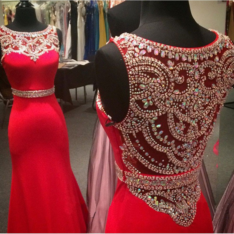 Robe De Bal Longue Red/Black Mermaid   Prom     Dress   Crystals Beading See Through Vintage   Prom     Dresses   Custom Made Party Gown 2018