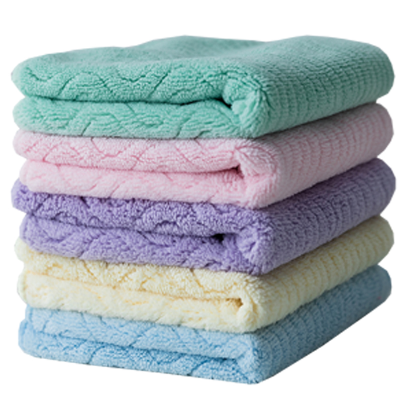 5 Pieces / Lot Velvet Towel  Absorbent Printed Square Towels Drying Washcloth Handkerchief Kitchen Bathroom 30*30CM AD0654