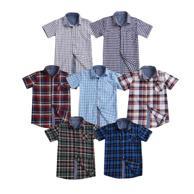 2019 Baby Shirt Summer Boys Plaid Casual Shirts Turn Down Collar Cotton Front Buttons Tops Kids Baby Boys Shirt casual Clothes(China)