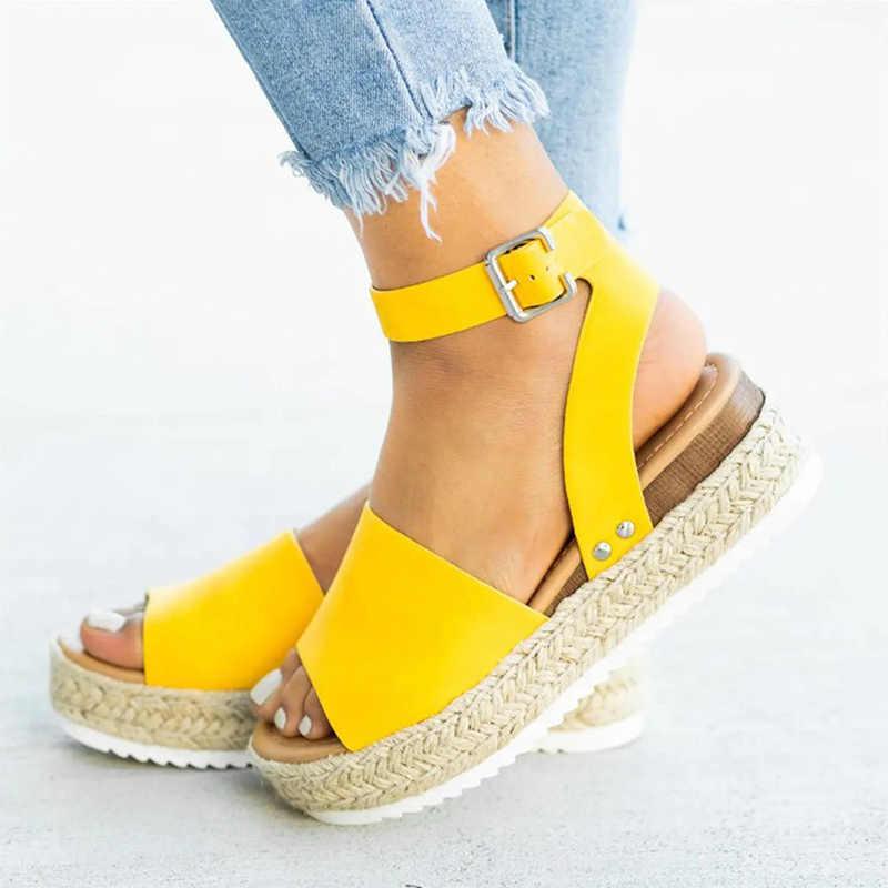 LZJ Wiggen Schoenen Voor Vrouwen Sandalen Plus Size Hoge Hakken Zomer Schoenen 2019 Flop Chaussures Femme Platform Sandalen # Nieuwe