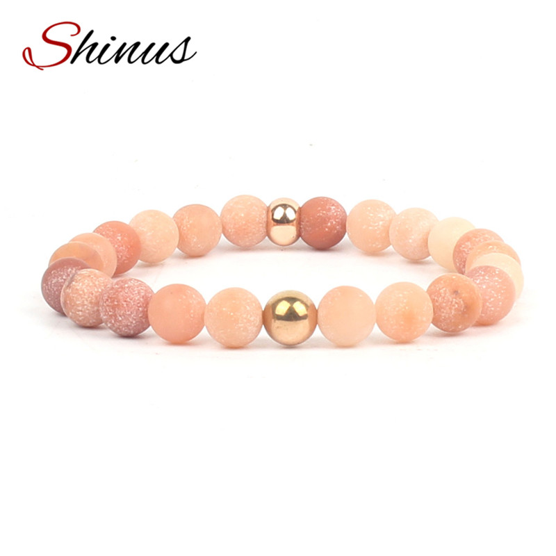 Shinus Bracelet Men Womens Bracelets India Matte Natural Stone Beads Mala Healing Meditation Handmade Jewelry Friendship Lovers