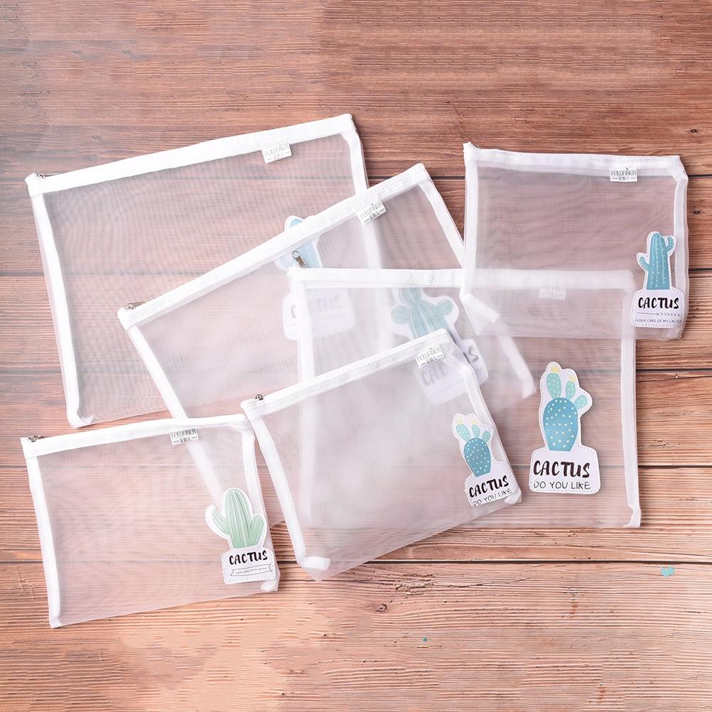 New A4/a5 Cactus Transparent Folder Pvc Mesh File Folder Document Bag Stationery Bag Promotional Gift Stationery File Folder
