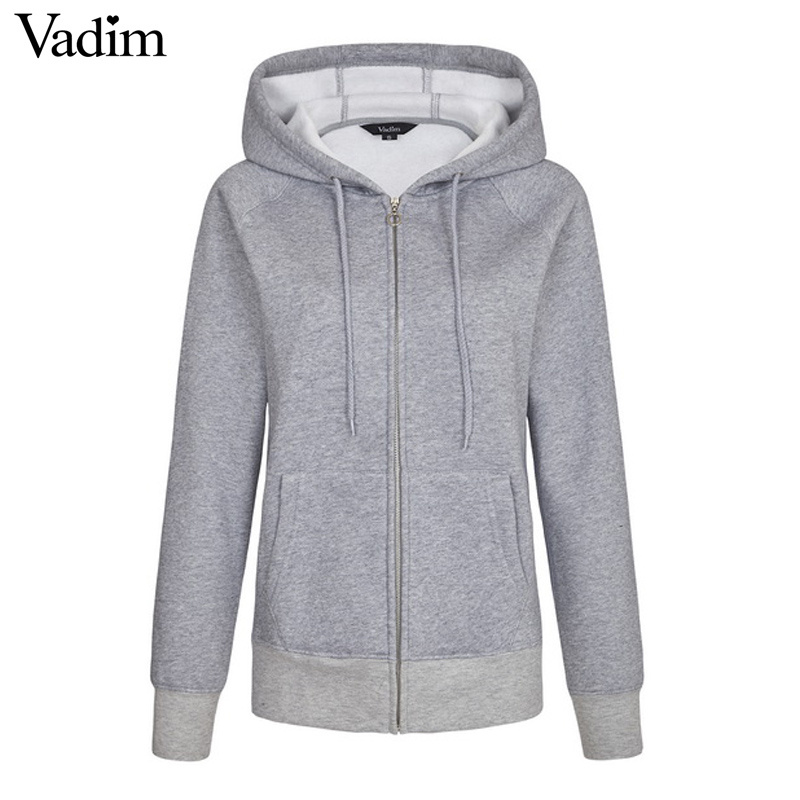76338a27698 US $13.59 30% OFF|Women basic loose Zip up Hoodie thick Fluffy Fleece solid  casual plussized long sleeve casual Roupas Femininas tops ZC051-in Hoodies  ...