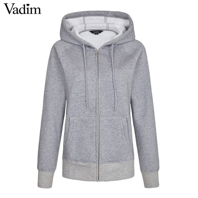 Women basic loose Zip-up Hoodie thick Fluffy Fleece solid casual plussized  long sleeve casual Roupas Femininas tops ZC051 b38c1d1d73