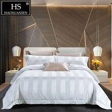 HS Luxury 140S White Striped Jacquard 4pcs Bedding Sets High Density 100% Cotton Bed Linen Set Queen King Size Bedclothes
