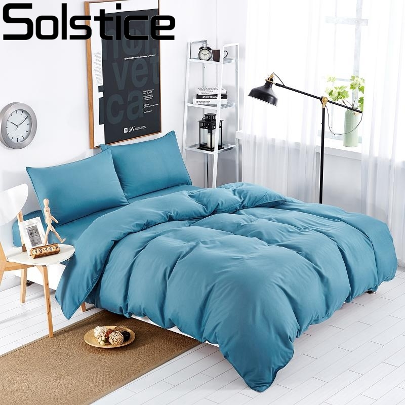 Solstice Home Textiles Solid Color Soft 3/4pcs Bedding Sets/Duvet Cover/bedspreads/bed Linen/bedclothes/ Bed Sheet King Queen