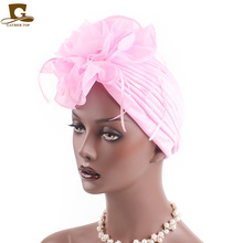 New Women Flower ruffle Turban Beanie Head Scarf Wrap Chemo Cap For Cancer Patient Indian hat hair accessories