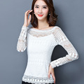 Embroidery Lady Fashion Lace Shirts Size S-5XL Black White Colors Women Casual Career Blouses