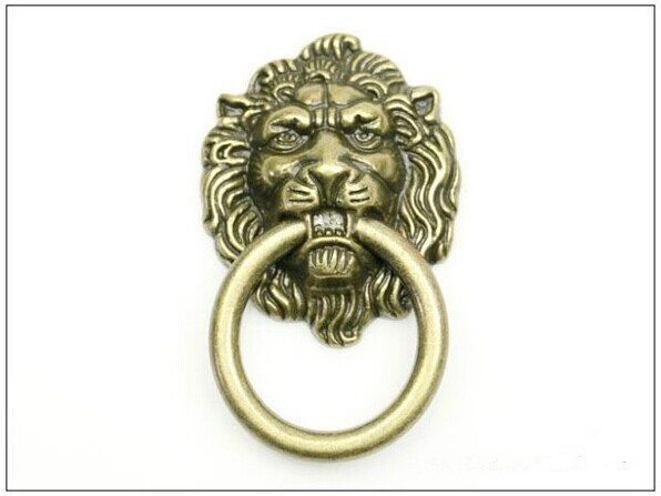 European rural style furniture handle classical zinc alloy pull bronze lion head rings for cabinet or
