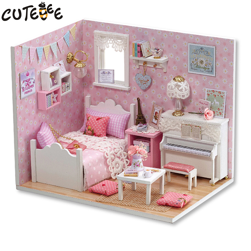 DIY Doll House Miniature with Furniture Dust Cover Wooden Dollhouse Miniaturas Toys for Children Christmas Gift New H15