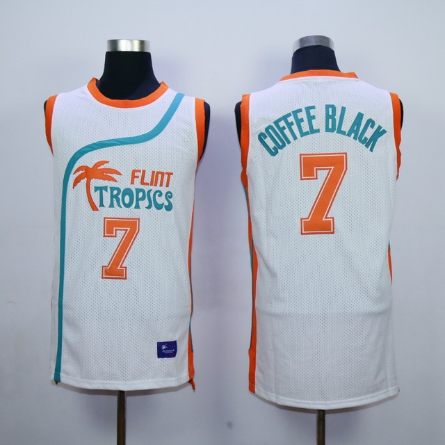 Flint Tropics Semi Pro Movie Basketball Jersey  7 Coffee Black Jersey Green  White Throwback Jersey S to XXXL Free Shipping 45c2345d9