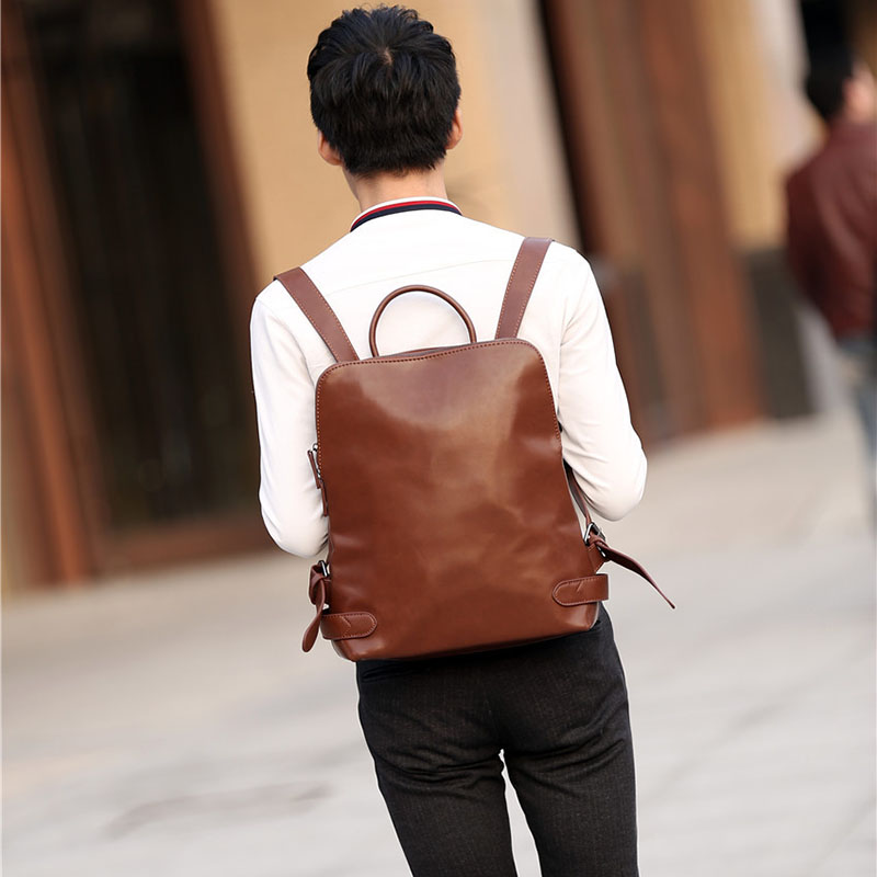 ETONWEAG Brands Cow Leather School Backpacks For Boys Brown Zipper School Bags For Teenagers Vintage Travel Luggage Laptop Bag male bag vintage cow leather school bags for teenagers travel laptop bag casual shoulder bags men backpacksreal leather backpack