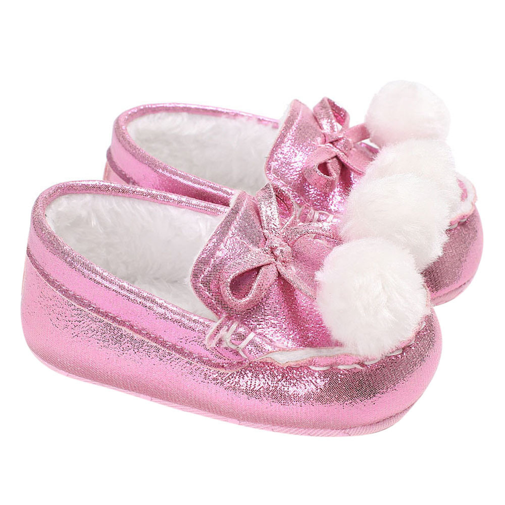 2017 New First Walkers Baby Girl Boys Soft Sole Butterfly-knot Double ball shoes Infant Toddler Newborn Warming Shoes Autumn
