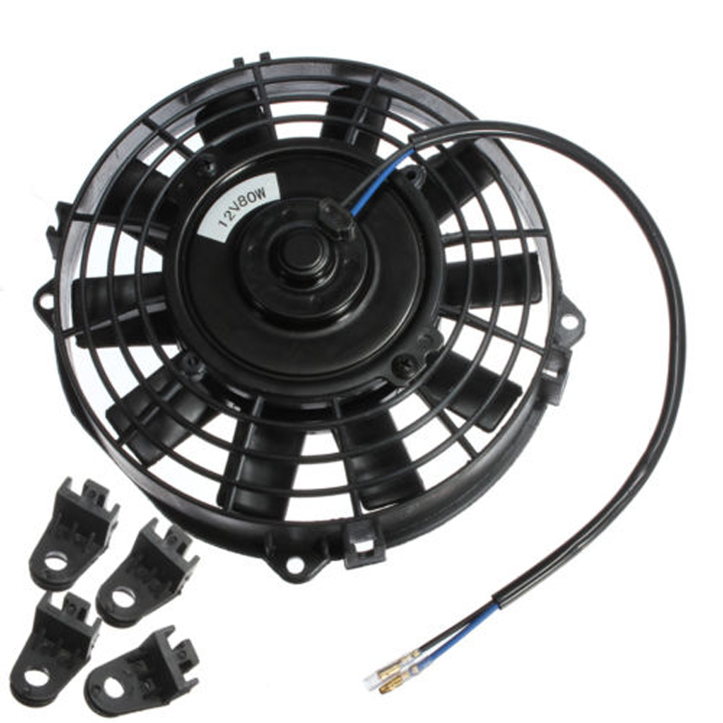 PROMOTION! Easy Install 7 inch Electric Radiator/Intercooler DC 12V 80W Slim Cooling Fan + Fitting Kit 31x12x3 inch universal turbo fmic intercooler 3 inch piping kit toyota supra mkiii mk3 7mgte