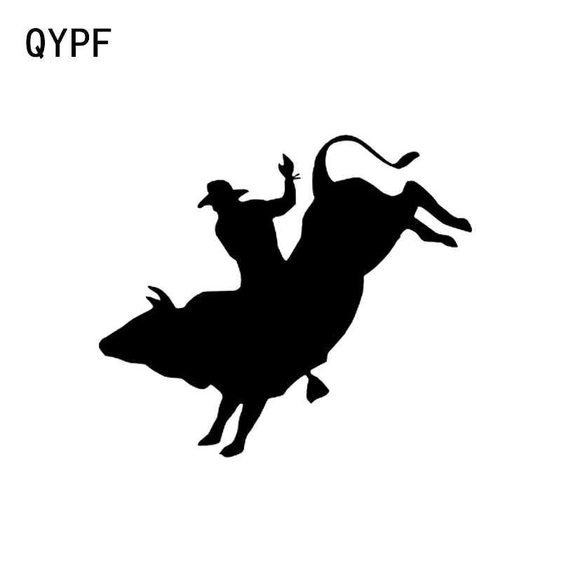 QYPF 13.2*11.4CM Bull Rider Rodeo Vinyl Outdoor Sports