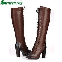 Nouvelle hiver de mode lacent véritable bottes en cuir Noir brun à talons hauts genou haute bottes de femmes Talons Épais Moto bottes