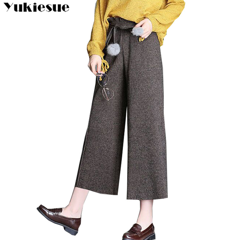 Women's   Pants   New High Waist Loose   Wide     Leg     Pants   Women Autumn Winter knitted femaleTrousers Casual Ankle-Length   Pants   Plus size