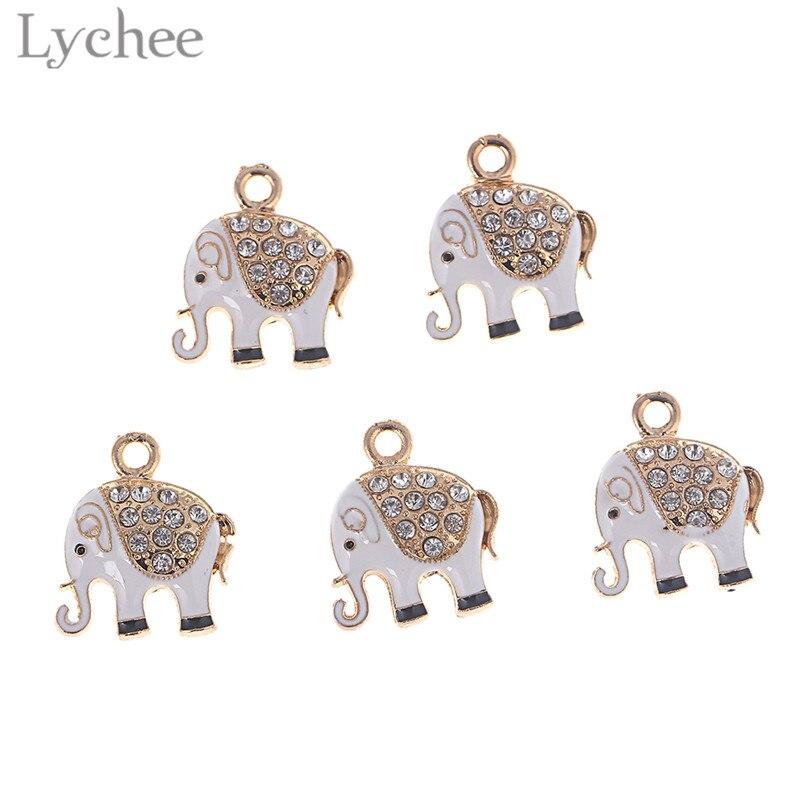 Lychee 5pcs Trendy Alloy Crystal Enamel Elephant Charms DIY Pendant Rhinestone Charms Jewelry Handmaking for necklace Bracelet