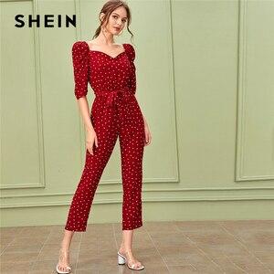 Image 1 - SHEIN Sweetheart คอพัฟแขน Elegant Jumpsuit กับเข็มขัดผู้หญิง 2019 ฤดูใบไม้ร่วงสูงเอวขาตรง Jumpsuits