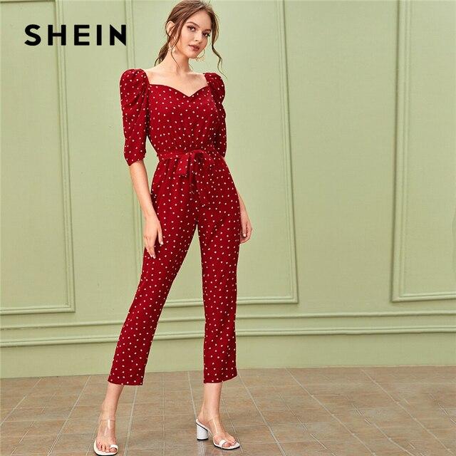 SHEIN Sweetheart คอพัฟแขน Elegant Jumpsuit กับเข็มขัดผู้หญิง 2019 ฤดูใบไม้ร่วงสูงเอวขาตรง Jumpsuits