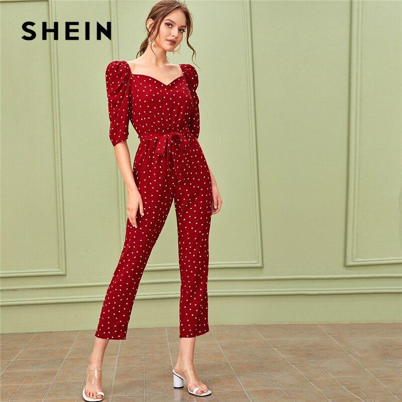 SHEIN Sweetheart Neck Puff Sleeve Elegant Jumpsuit With Belt Women 2019 Autumn Half Sleeve High Waist Straight Leg Jumpsuits