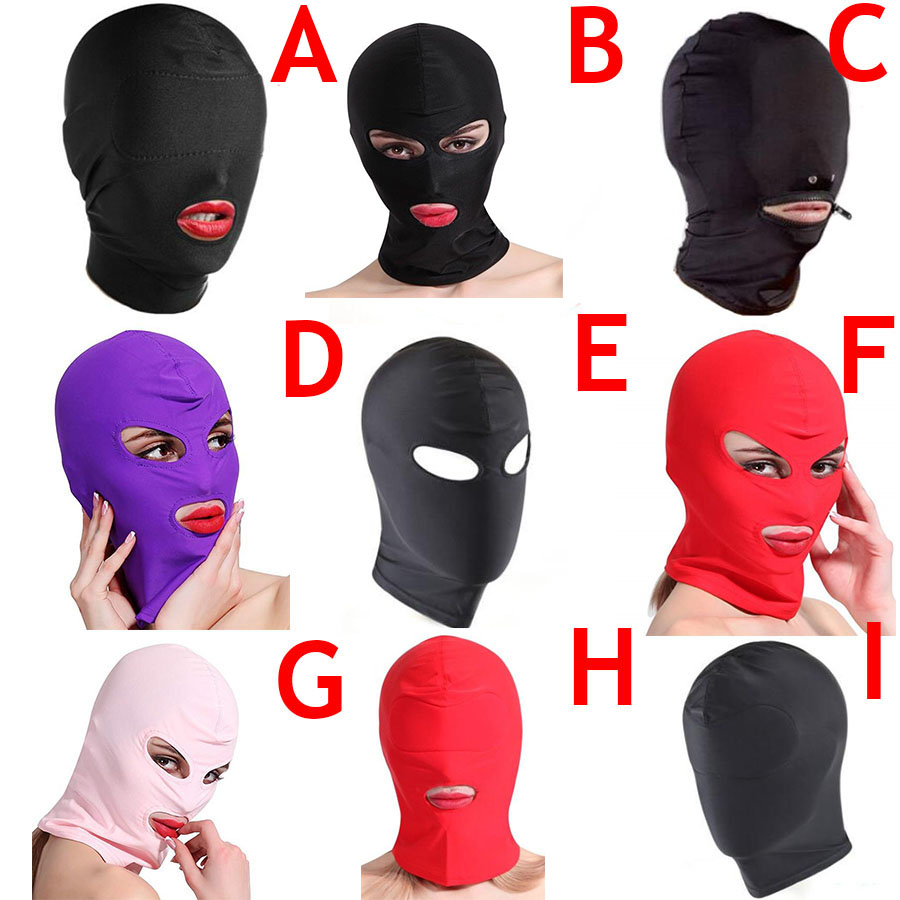 Full Head Face Mask Hood Blindfold Role Play Harness Zipper Restraint, Kinky Bondage Restraints Accessories