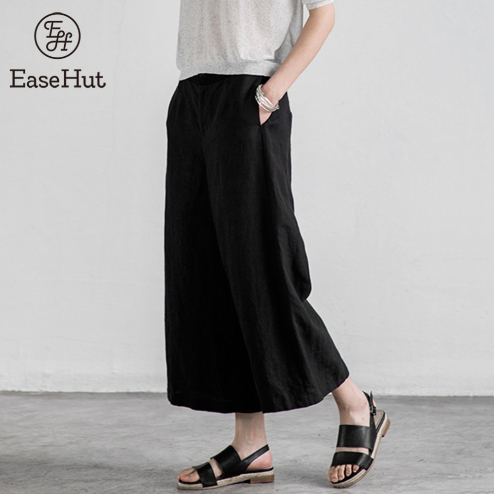EaseHut 2018 Women   Wide     Leg     Pants   Vintage Casual Loose Elastic Waist Cotton Solid Long   Pants   Plus Size S-5XL Pantalon Trousers