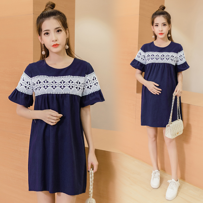 Pregnant women will spot the spring/summer outfit maternity dress show thin jin han edition loose cotton and linen