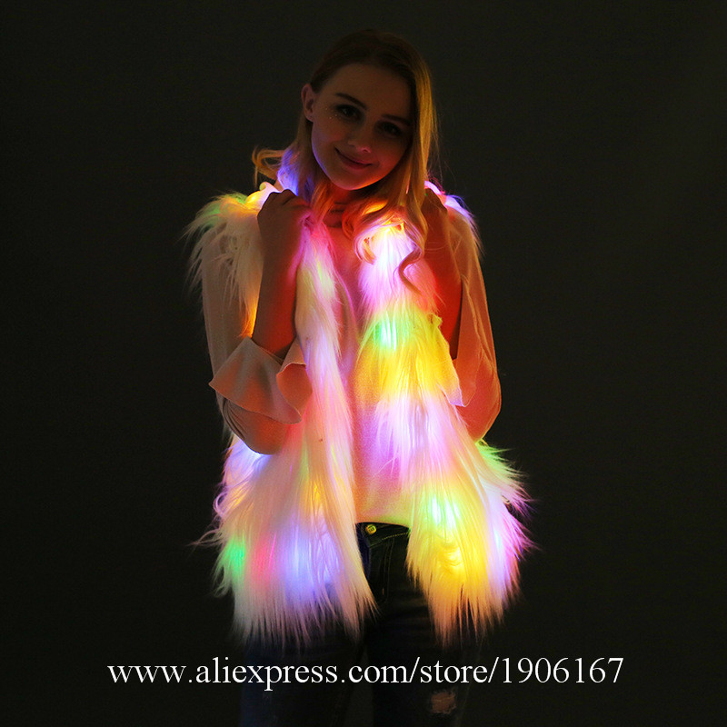 Colorful Hooded Fur Vest Led Luminous Night Club Dance Performance Glowing Clothes Led Music Festival Clothing