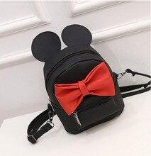 цена на 2017 New Mickey ears Sweet girl bow College Wind mini backpack female bag quality pu leather women backpacks Korean version