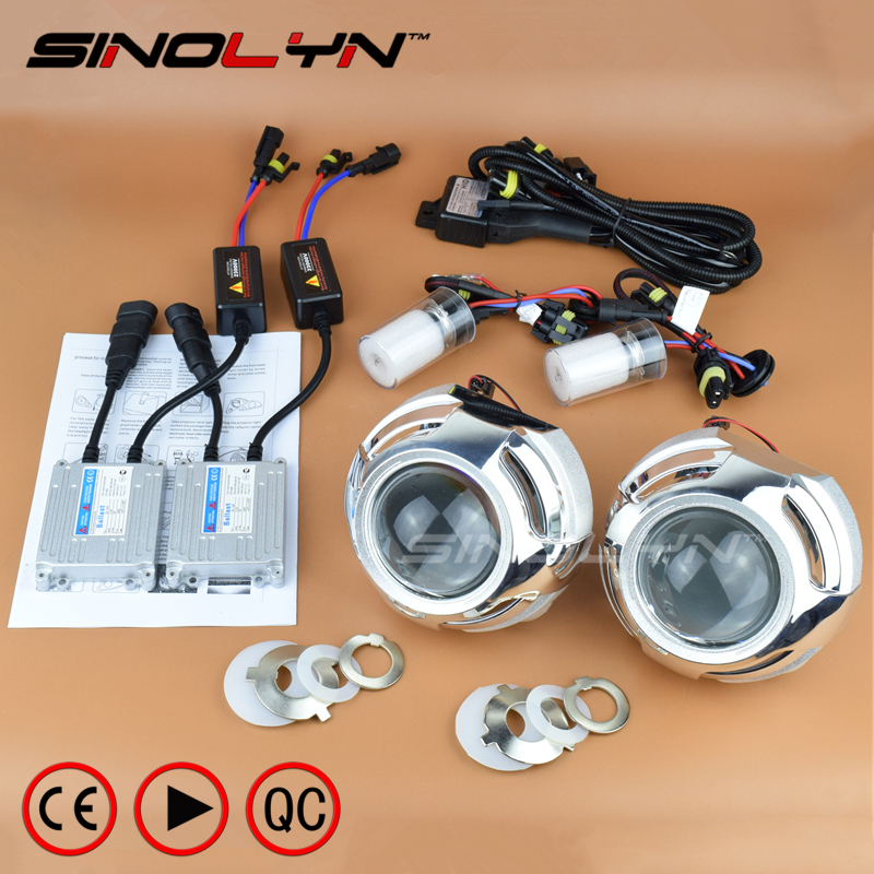 SINOLYN Car Styling Super 3.0 inch HID Bi-xenon Projector Lens Headlight Retrofit Xenon Headlamps Lenses Kit H1 H4 H7 9005 9006 safego 2 5inch hid bixenon projector lens kit bi xenon with shroud bi xenon lens for h1 h4 h7 h11 9005 9006 car hid headlight