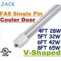 Горячие Продаж + V-образный 4ft 5ft 6ft 8ft T8 Огни Двери Кулер светодиодные Трубки Один Вывод FA8 28 Вт 32 Вт 42 Вт 65 Вт Холодный Белый AC 85-265 В