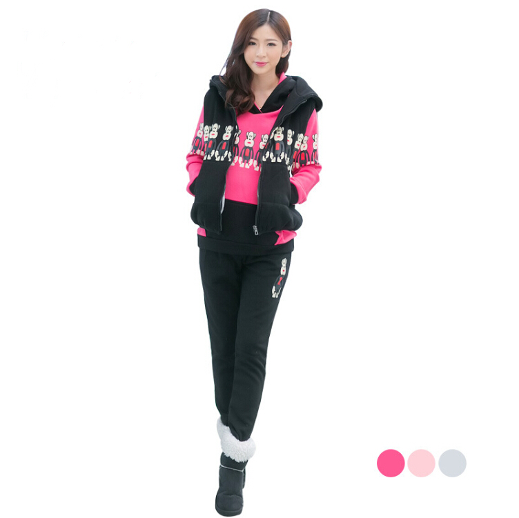 winter Thickening thermal maternity clothing set fashion three piece set plus velvet ,top quality for pregnant women long sleeve sports maternity hooded set winter twinset thickening plus velvet clothing
