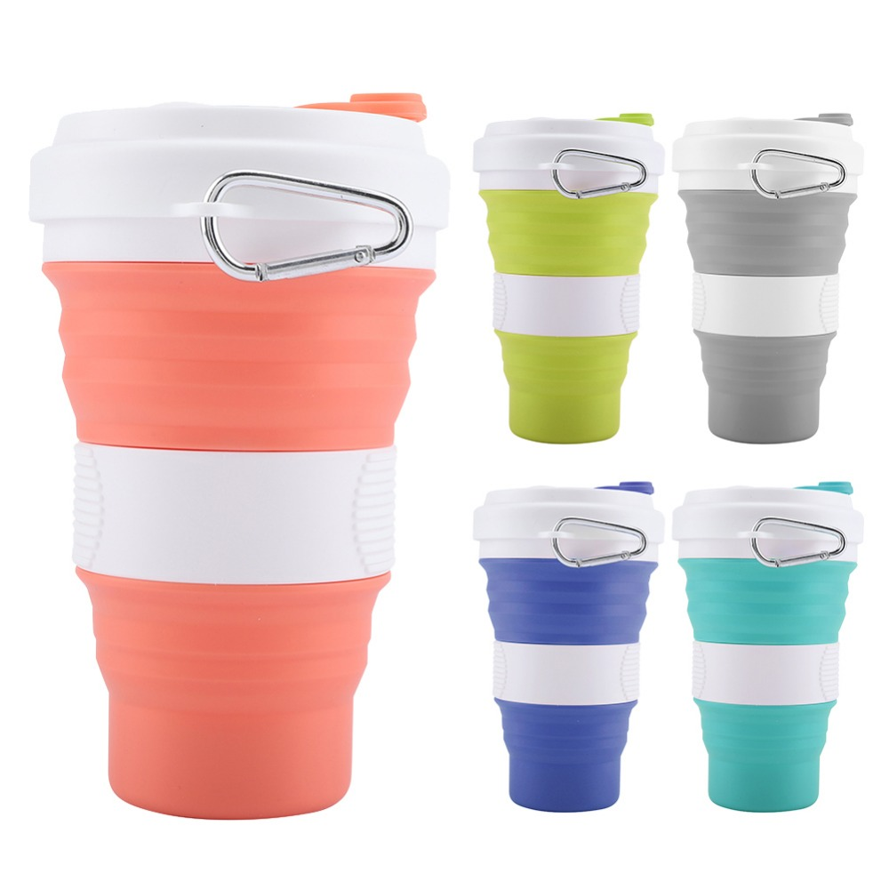 550ml Folding Silicone 5 color Portable Silicone Telescopic Drinking Collapsible coffee cup folding silica cup with Lids Travel