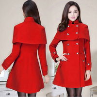 Girls Winter Fashion Sweet Double Breasted Regular Casual Wool Blends Coats Women Slim Brief Pure Color Warm Jackets