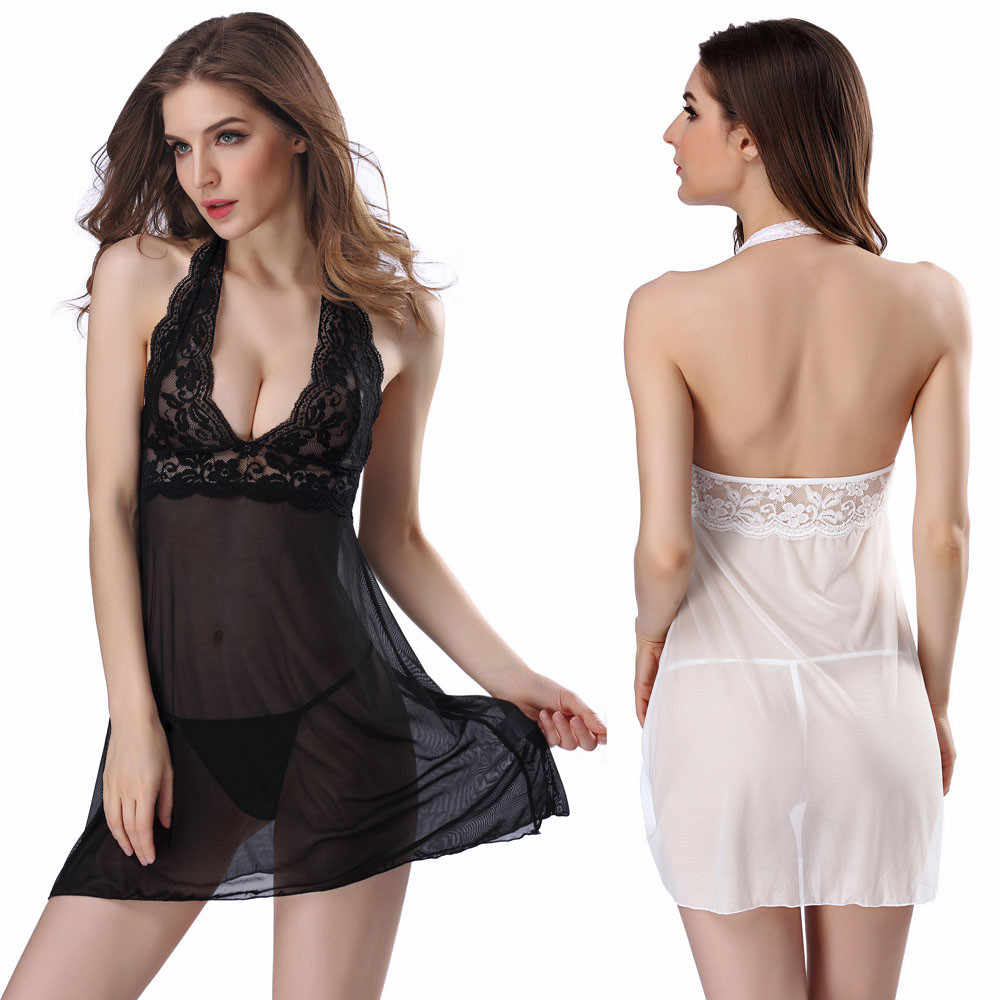 dc40e6dc8 Sexy Women Lingerie Lady Underwear Lace Night Dress White Babydoll  Sleepwear with G-string Sleeping