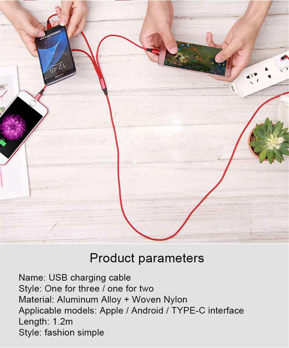 NOHON 3 2 in 1 Micro USB Type-C Lighting Charging Cable For iPhone 7 8 6 6S Plus X iOS Android For Xiaomi LG Fast Charger Cables (8)
