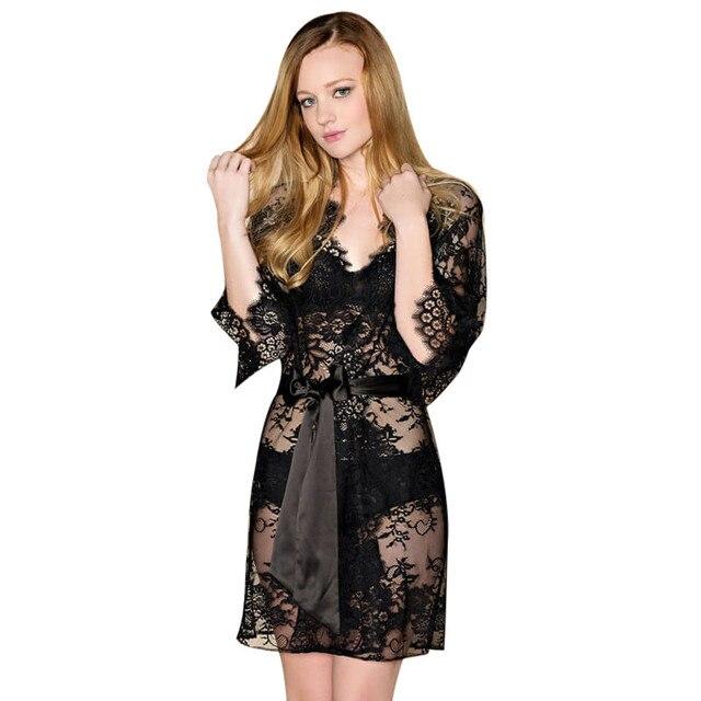 Mulheres Camisola De Cetim Sexy Rendas Dormir Vestido Lingerie Hot Erotic  Babydoll Vestido De Noite Desgaste 9388881e514