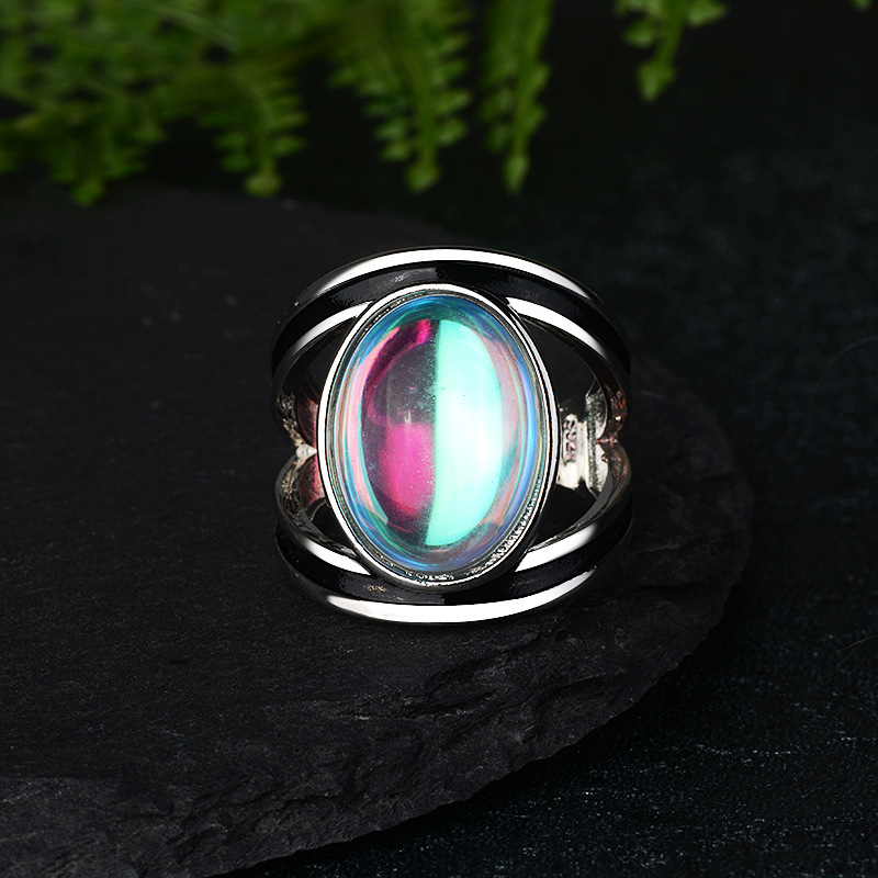 S925 Tibetan silver Fashion Jewelry Femme Natural Moonstone Personalized Rings for Women Bijoux Wedding Jewelry Gift