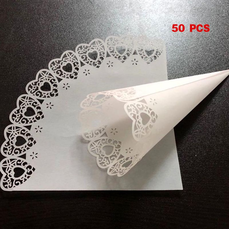 50pcs Laser Cut Love Heart Lace Laying Candy Wedding Party Favors Confetti Cones Paper Cone Decoration Supplies Gift