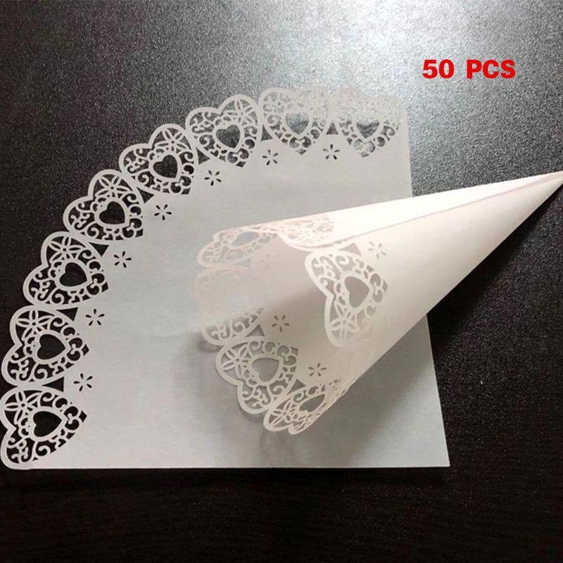 White Laser Cut Flower Wedding Confetti ConesPack of 10